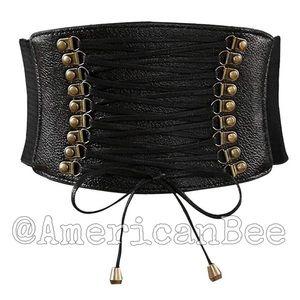 Leather High Waist Belt Wide Elastic Stretch